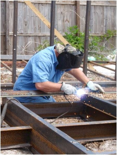 Paul welds sled on Artificial Reef Base to facilitate deployment