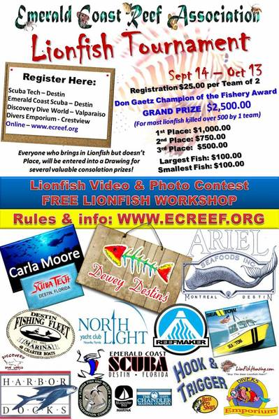 2013 ECRA Lionfish Tournament Poster